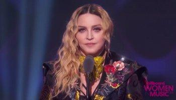 Madonna während Rede